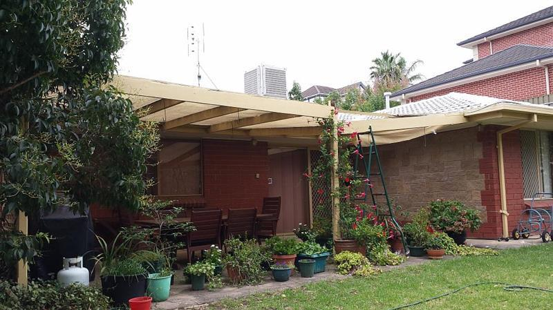 Complete replacement of existing shade cloth veranda